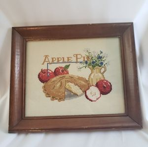 Apple Pie Cross stitch Picture And Frame